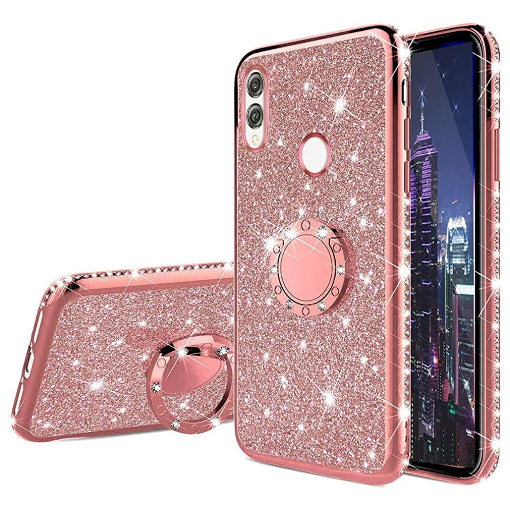 EMAXELER iPhone XR Case Bing Glitter Diamond Shiny Luxury Plating TPU 360 Degree Ring Stand Bumper Silicone Protective Case Cover for iPhone XR - Rose Gold Glitter KDL