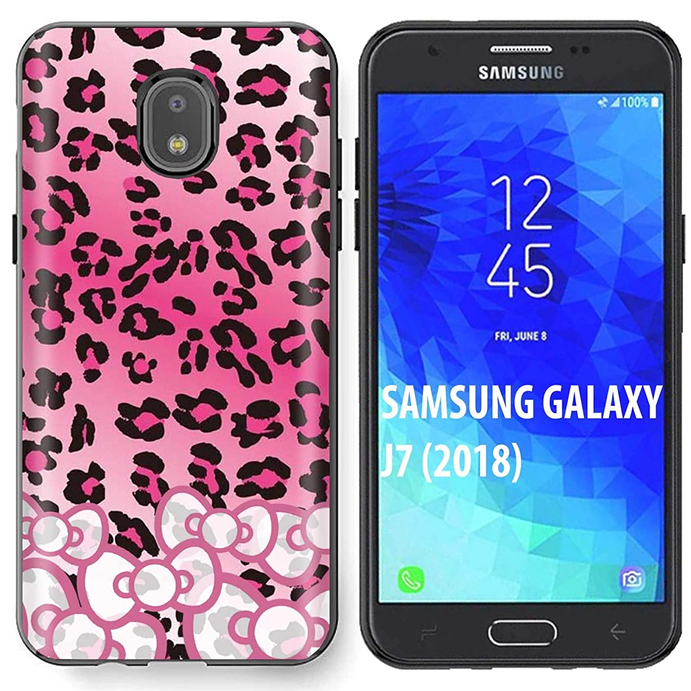 [SkinGuardz] Samsung Galaxy (J7 2018)/J7 Aero/J7 Refine/J7 Star/J737/J7 V 2nd Gen [Black] Slim Case [Pink Leopard Ribbon Print]