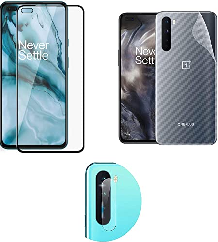 LINLO 3 In 1 Compatible For Oneplus Nord 11D Tempered Glass With Camera Hole With Clear Transparent Fiber Back Skin Rear Screen Guard Protector With Camera Lens Protector Tempered Glass