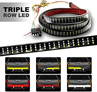 HYB LED Tailgate Light Bar Triple Row 60 Inch Red Brake Running White Reverse Sequential Turning Signals Strobe Lights for Pickup Trailer SUV RV VAN No Drill Install 1 Yr Warranty