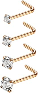 Jstyle 20G 4-15 Pcs Stainless Steel Nose Rings Studs L-Shape Piercing Body Jewelry 1.5mm 2mm 2.5mm 3mm