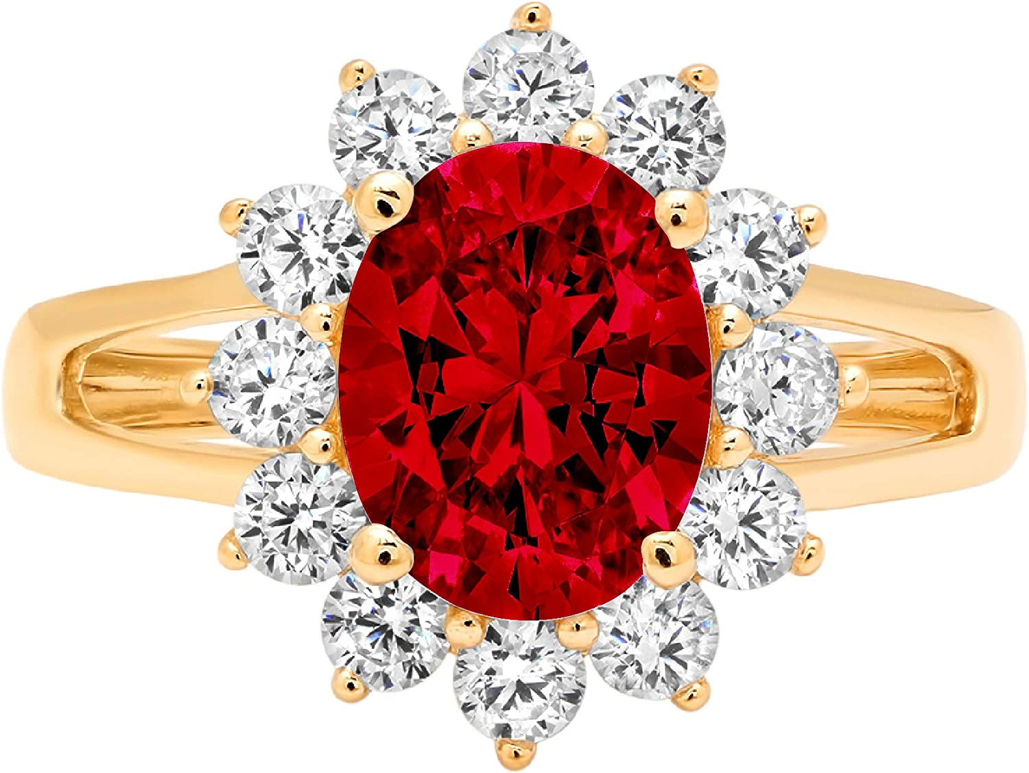 2.3ct Brilliant Oval Cut Solitaire with Accent Halo Natural Crimson Deep Red Garnet Gemstone Ideal VVS1 Engagement Promise Statement Anniversary Bridal Wedding ring Solid 14k Yellow Gold