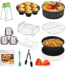 Tobeape 8 Inch Air Fryer Accessories, 15 Pcs Air Fryer Accessories Compatible with Growise Phillips Cozyna Fit All 5.2QT-...