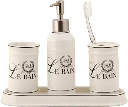 Set Keramik creme Badezimmer wei/ß Le Bain Becher Seifenspender Tablett Clayre /& Eef 62474 4-teil