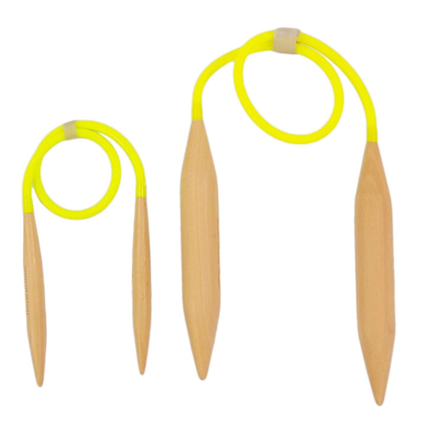 Large & Medium Size Wood Circular Knitting Needles Set, Thick US 36 20mm 24 inch, Short US15 10mm 16 inch