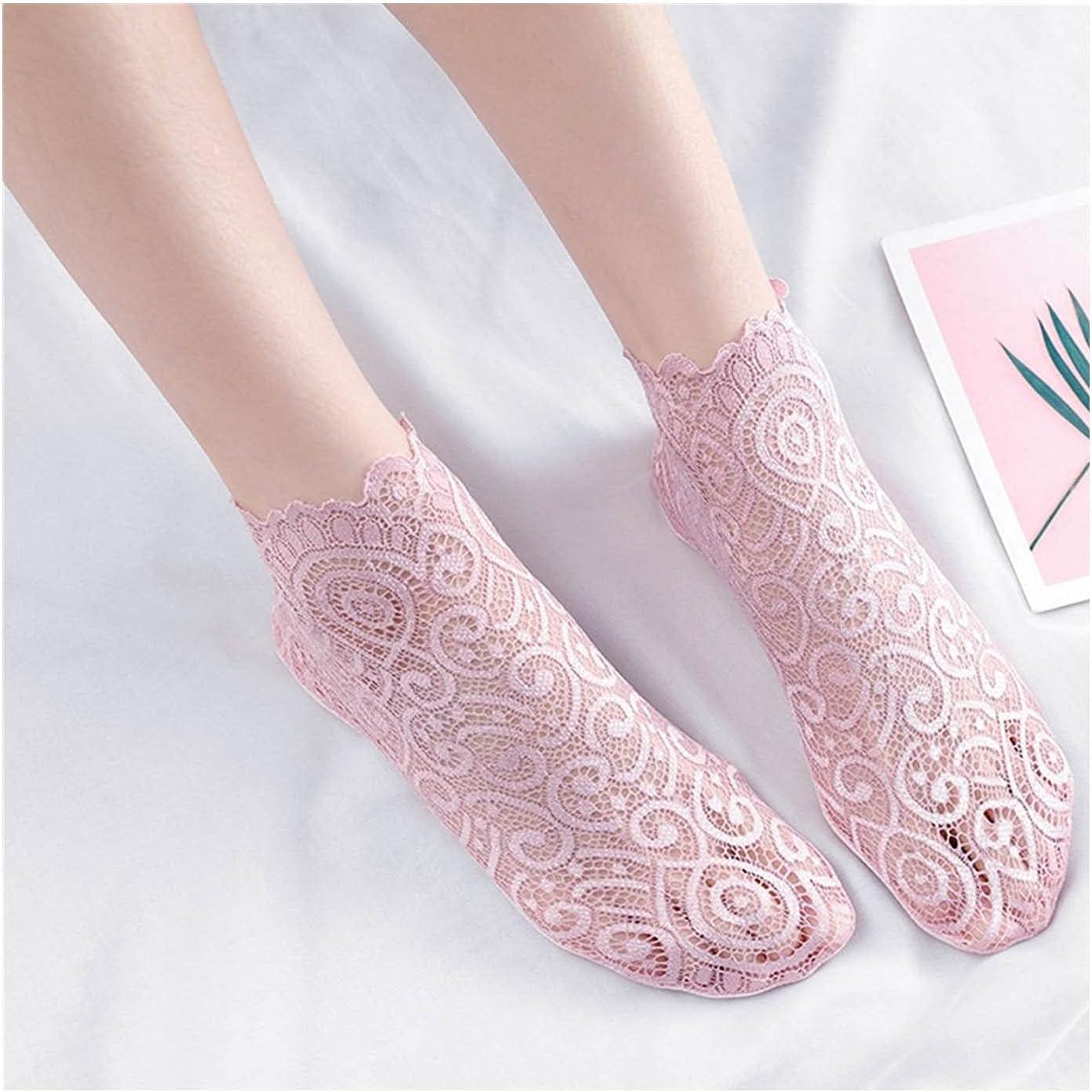 Moonlight Star Ladies' Floral Lace Socks Fashion Summer Mesh Short Hollow Chaussette Soft Cotton Bottom Non-Slip (Color : Style E)