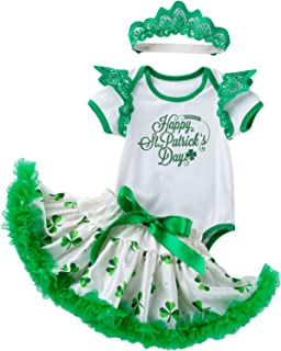 Amberetech ST. Patrick's Day Dress Romper Outfits Baby Girl Irish Party Costume Shamrocks Jumpsuit Skirt