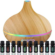 Ultimate Aromatherapy Diffuser & Essential Oil Set - Ultrasonic Diffuser & Top 10 Essential Oils - 300ml Diffuser with 4 T...