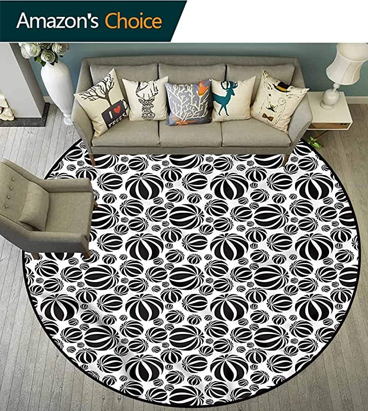 RUGSMAT Abstract Modern Flannel Microfiber Round Area Rug Monochrome Circles Carpet Door Pad For Bedroom Living Room Balcony Kitchen Mat Diameter 24