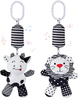 Animal Rattle Toys for Babies with Sound - 2 Soft Cartoon Hanging Rattle Toys - Black and White Car Seat & Stroller Toys f...