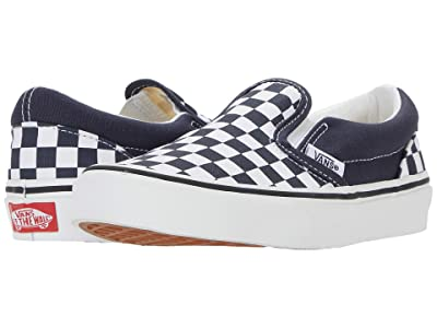 Vans Kids Classic Slip-On (Little Kid) ((Checkerboard) India Ink/True White) Boys Shoes