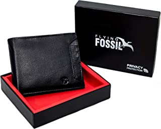 Flying Fossil Genuine Leather Hand-Crafted Bifold Wallet with RFID Protection, Quick Access Slot, Ultra Slim Bifold Wallet with 6 Card Slot, Coin Pocket and 2 Currency Pocket, FFW00001-2