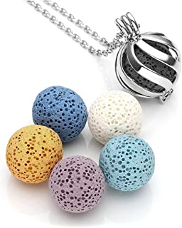 Top Plaza Lava Rock Stone Essential Oil Diffuser Necklace Twisted Ball Aromatherapy Locket Pendant With 6 Lava Stone Balls