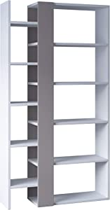 Ada Home Décor Boise Bookcase, 59.25'' x 62.06'' x 11.42'', White & Light Mocha