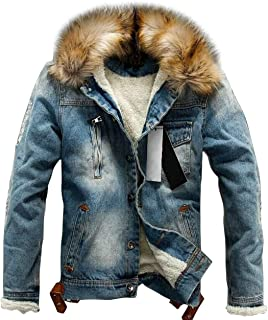 Men's Winter Stylish Faux Fur Collar Sherpa Lined Distressed Denim Trucker Jacket