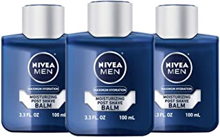 NIVEA Men Maximum Hydration Moisturizing Post Shave Balm - No Greasy Feel - 3.3 fl. oz Bottle (Pack of 3), Package may vary