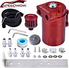 SPEEDWOW Oil Catch Can Air Breather Tank Filter Baffled With Hose Kit Universal Red