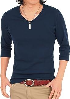 [エムシー] メンズTシャツ 半袖 無地 7分袖 七分袖 Vネック インナー ティーシャツ カットソー