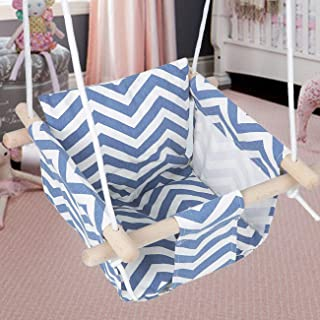 BEAMNOVA Canvas Swing Chair Set with Cushion Indoor Outdoor Unisex Tree Straps Hammock Hanging Kit Compact Vintage for Yard Playground Doorway, Blue