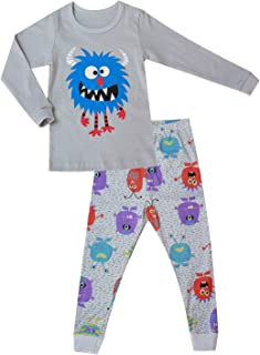 OllCHAENGi Little Boys Girls Kids Cotton Pajama Sleepwear Set Long Sleeve 18M-12Y Monster