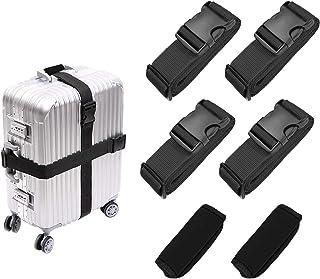 Luggage Straps Suitcase Belts Travel Accessories Bag Straps 4 PCS, Suitcase Handle Wrap Grip Tags 2 PCS (Black).