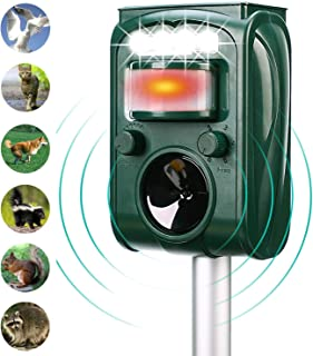 Ofimon Solar Ultrasonic Animal Repeller, Waterproof Outdoor Equipment, Motion-Triggered PIR Sensor can Trigger Alarms and Flashes, Suitable for Cats, Dogs, Squirrels, Raccoons, Mice