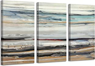 """Seascape Abstract Art Seashore Picture: Beach Shoreline Photographic Print on Canvas for Wall(26""""x16""""x3panel)"""
