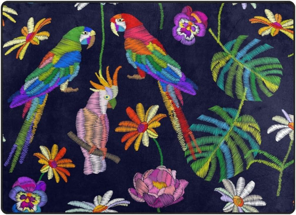 ALAZA My Daily Parrot and 価格交渉OK送料無料 いつでも送料無料 Flower Tropical 4' Navy Bird Rug Area