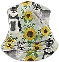 Schnauzer Dog And Sunflower Summer Fleece Neck Warmer Heat Trapping Sun-Proof Neck Gaiter Tube Soft Elastic Balaclava Half Mask Unisex Windproof Ski Neck Gaiter Cover For Winter Skiing Run