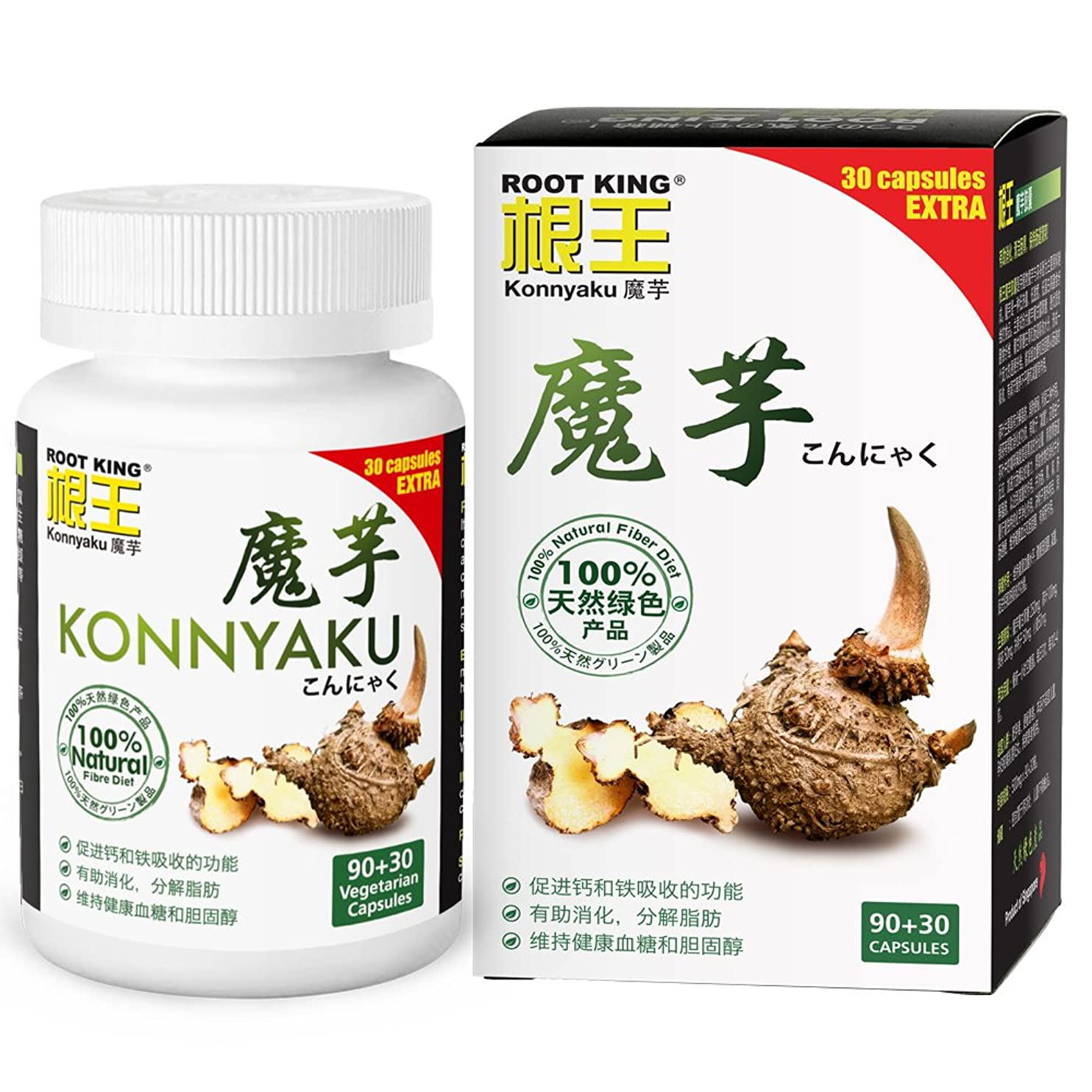 島癌広がりROOT KING Konnyaku (120 Vegecaps) - control appetitide, feel fuller, contains Konjac glucomannan