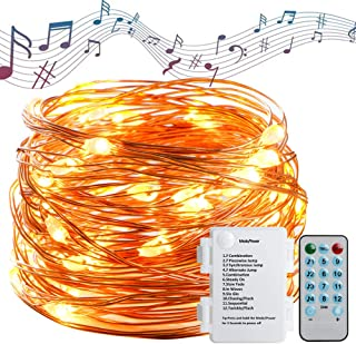 Koopower 60 LED Fairy Lights with Sound Activated, Battery Powered Copper String Light 4 Music Control Modes 8 Lighting Mo...