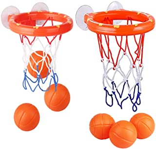 KISEER 2 Pack Fun Basketball Hoop with Heavy Duty Suction Cups Bathroom Bathtub Shooting Game Balls Toy Set with 6 Balls f...