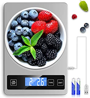Mik-Nana Food Scale USB Rechargeable, 5KG/11lb Digital Kitchen Scale Weight Grams and Ounces for Baking and Cooking, Tare ...