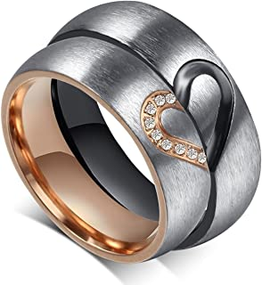 Amazing Titanium Stainless Steel We Love Each Other Wedding Band Set Anniversary/Engagement/Promise/Couple Ring Best Gift!(Half