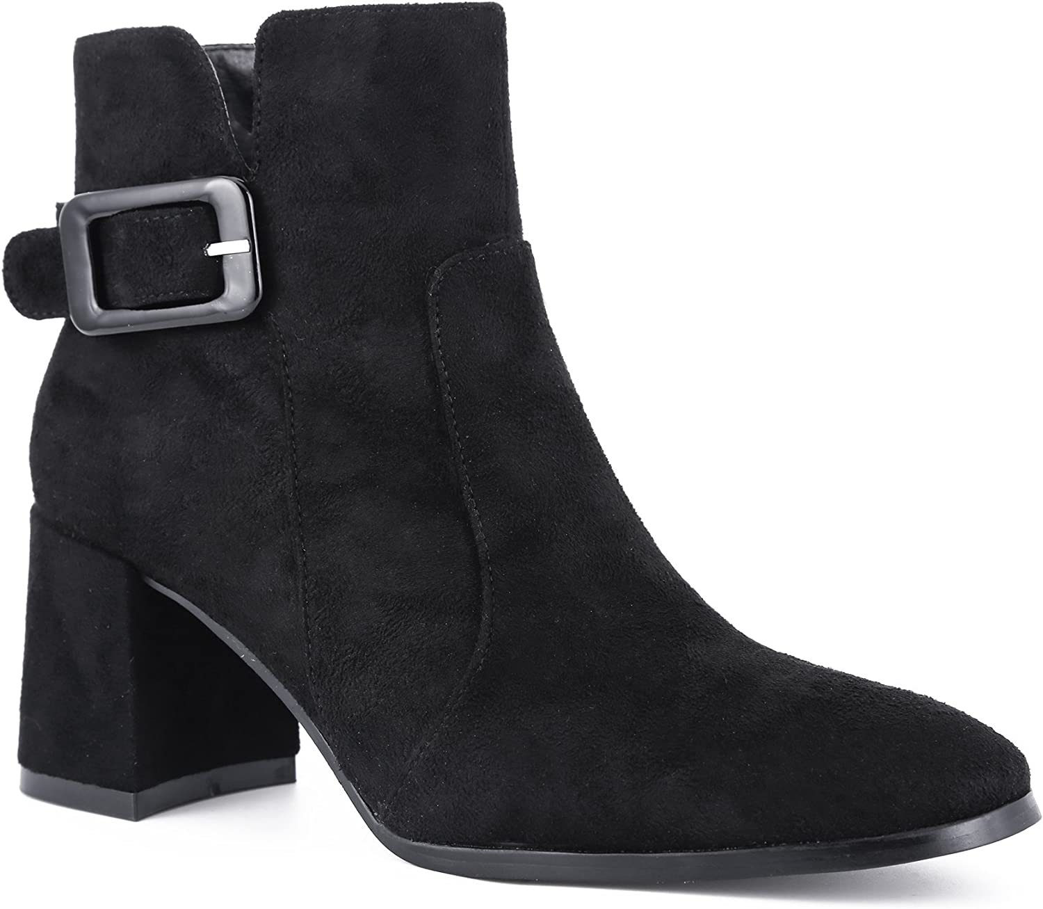 MaxMuXun Womens Zipper shoes Block Heel Buckle Ankle Boots