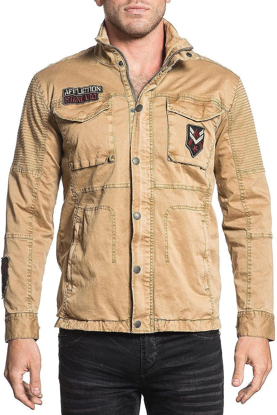Bargain Affliction Jackets for Men. Flannel Me Denim Khaki High quality new Pleather