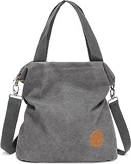 Myhozee Handtasche Damen Canvas Umhängetasche,Taschen Damen Strandtasche Schultertasche Crossover Bag für Mädchen Frauen-GRAU