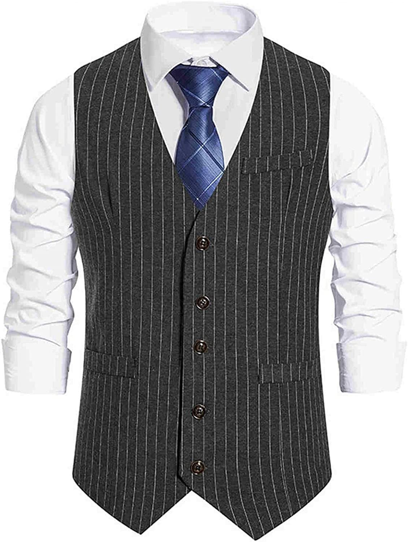 Huangse Regular Fit Dress Vest for Men Retro Striped Business Suit Vest Casual Single Breasted Waistcoat Wedding Groomsmen