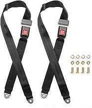 IRIGO Universal 2 Point Adjustable Seat Belt Harness Kit Single Double Seat Lap Seatbelt for Go Kart UTV Buggie Vehicle Truck Black