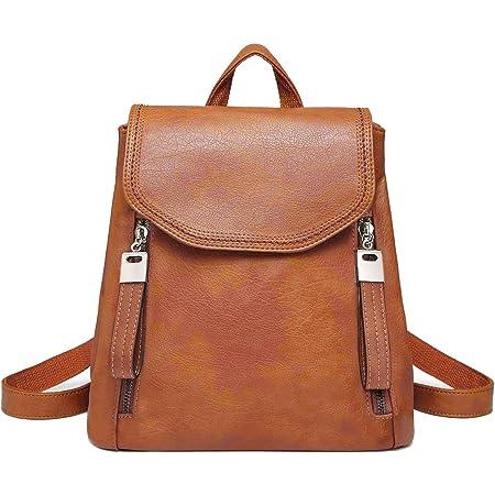 JOSEKO Damen-Rucksack mit Klappe aus Leder, lässiger Rucksack mit Schulterriemen, braun (Braun) - JOSEKOukpursemall1901