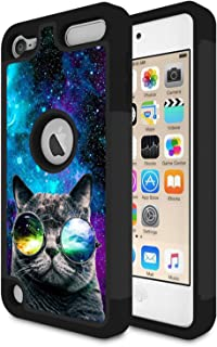 iPod Touch 6 Case,Touch 5 Case,Rossy Heavy Duty Hybrid TPU Plastic Dual Layer Armor Defender Protection Case Cover for Apple iPod Touch 5/6th,Galaxy Cat with Glasses