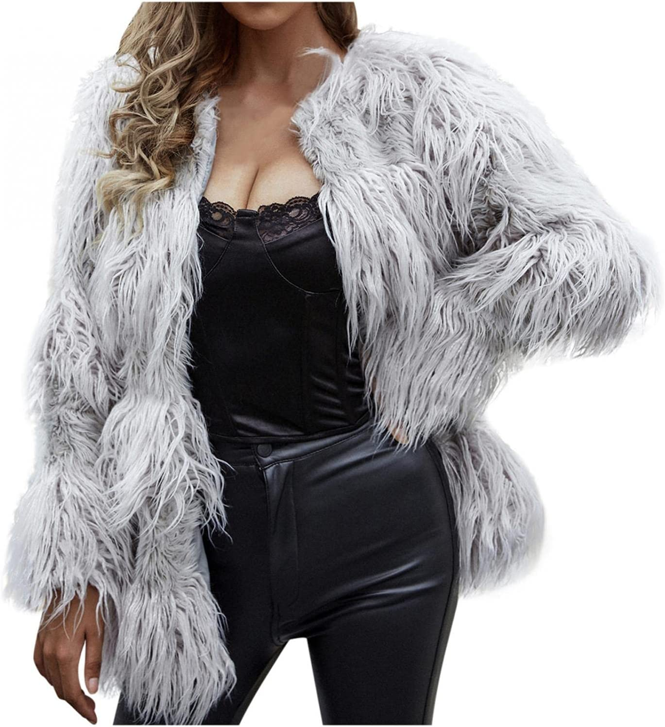 Smileyth Women's Faux Fur Coat Shaggy Solid Color Long Sleeve Open Front Cardigan Plush Warm Winter Outwear Jacket