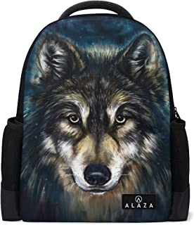 Mydaily Wolf Painting Backpack 14 inch Laptop Daypack Bookbag for Travel College School