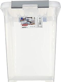CURVER | handy box - Plus 9L + clips Gris Avec Couvercle, Transparent, handy +, 29,4x19,4x25,4 cm