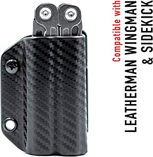 Clip & Carry Kydex Multitool Sheath for Leatherman WINGMAN/SIDEKICK - Made in USA (Multitool not included) EDC Multi Tool Sheath Holder Holster Cover (Carbon Fiber Black)
