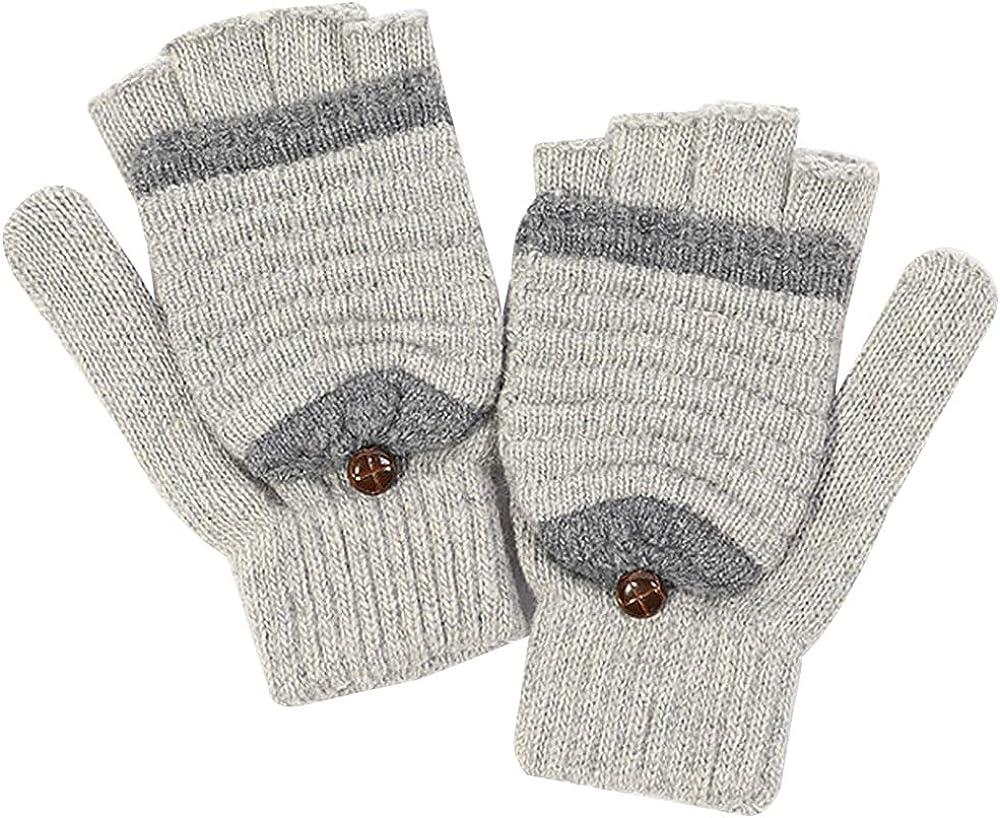 Van Caro Unisex Warm Wool Flip Top Gloves Half Finger Stretchy Knit Mittens