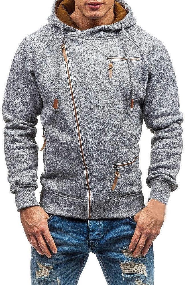 Mens Hoodies Zip Up Lightweight Slim Casual Diagonal Zipper Long Sleeve Hooded Pullover Sweatshirts Outwear Jacket Coats