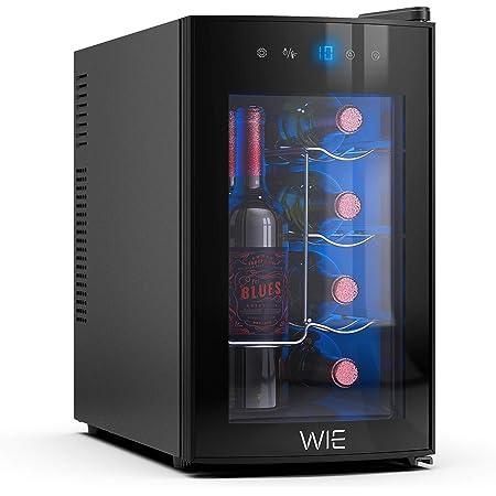 ワインセラー 最新 ペルチェ超静音式 省エネ 小型 WIE ワインクーラー コンパクトモデル 8本収納 縦置き・横置き両方に対応可能 安全認証 紫外線UVカット グラス収納 家庭用業務用 1年品質保証