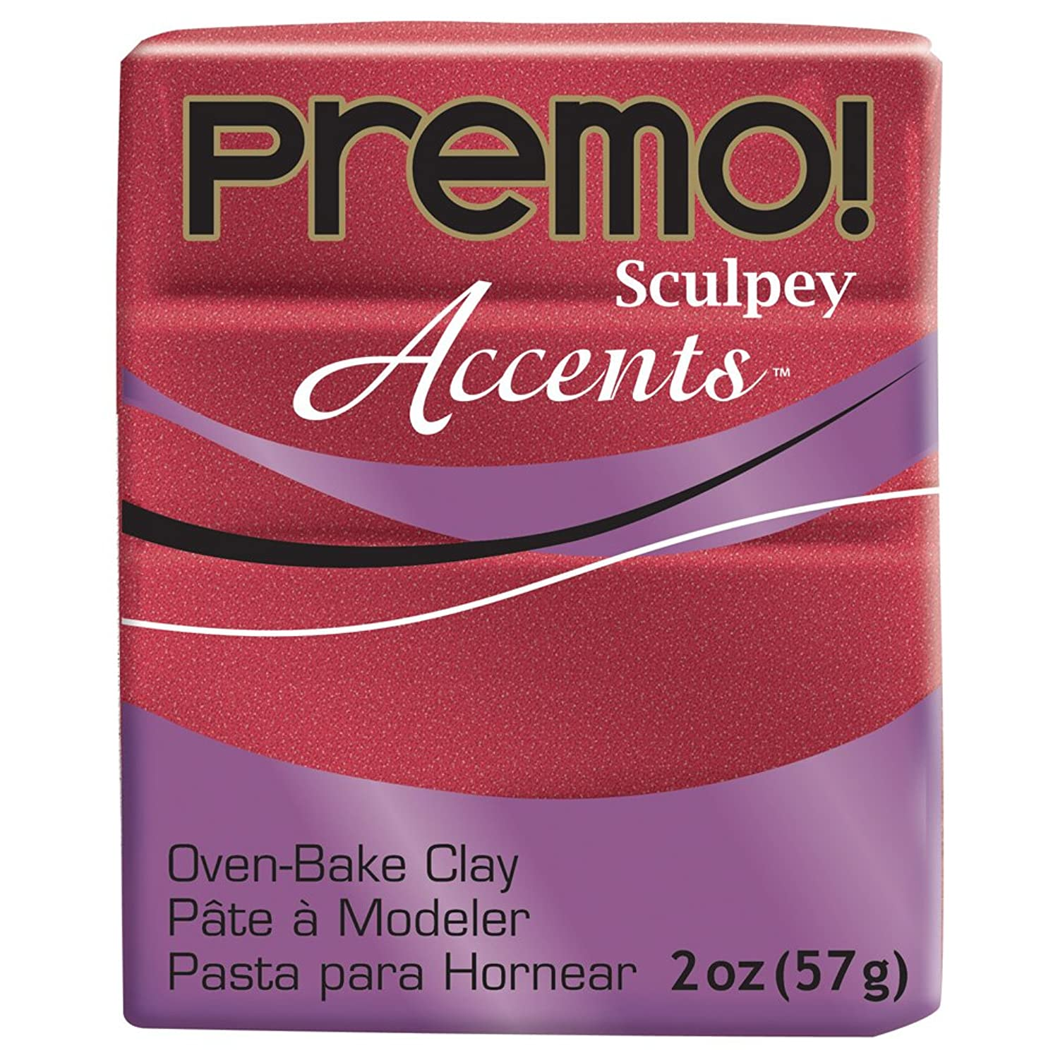 Premo Sculpey Polymer Clay 2 Ounces-Red Glitter