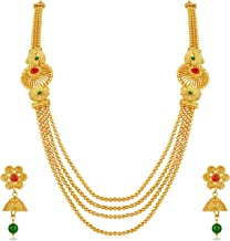 Reeva Gold Plated Multi-Strand Necklace With Earrings Set For Women